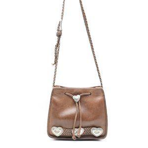 Brighton Vintage Brown Leather Purse Hearts